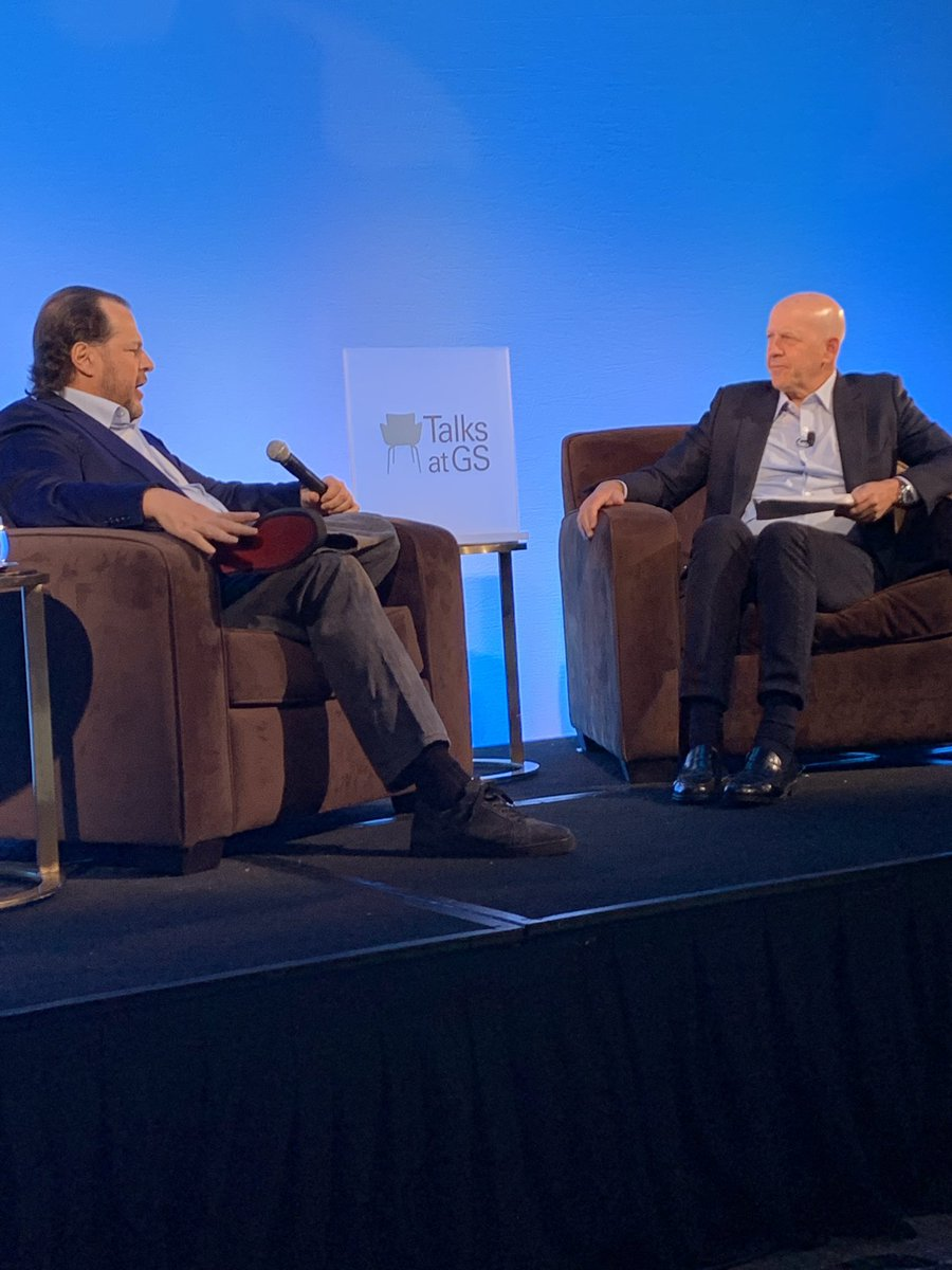 """Every CEO has to ask a simple question: ""What's your highest value?"" My highest value, and Salesforce's highest value, is trust. Trust with our employees, our customers, our local community. Nothing is more important."" -Marc @Benioff #TalksatGS"