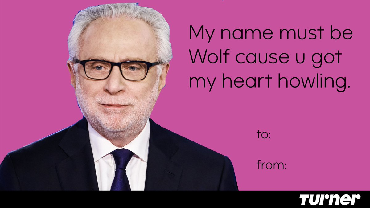 Awooooo!! 🐺🌙 Happy #ValentinesDay from @cnn's very own @wolfblitzer, anchor on @CNNSitRoom ❤️