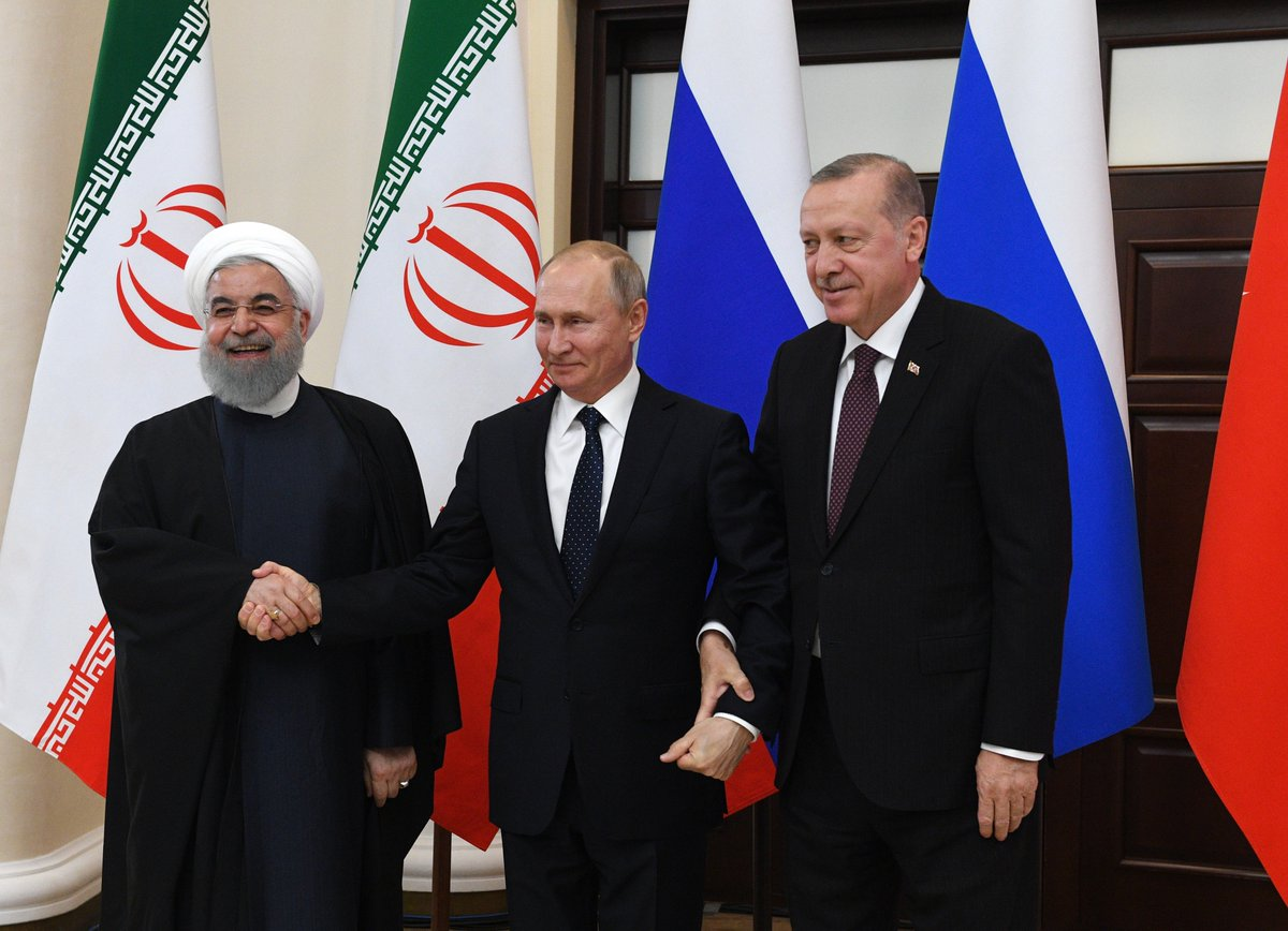 The presidents of Russia, Iran and Turkey discussed the Syrian peace settlement at a trilateral meeting in #Sochi  https://t.co/JVNUKOKd6k