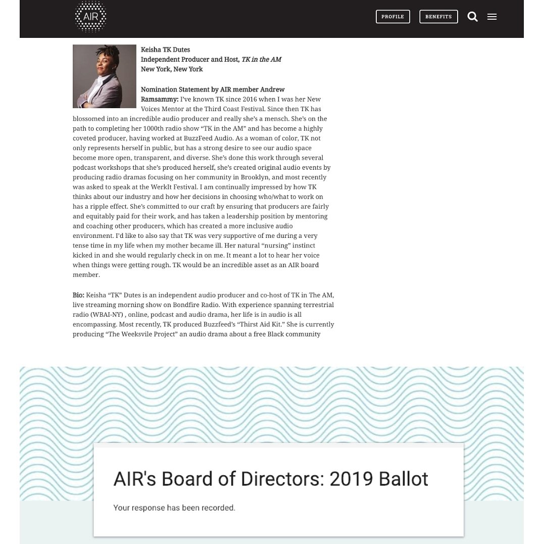 Hi! 👋🏾  I'm running for a seat on the Board of Directors of @AIRmedia and nominated by 3x Emmy award winner and mentor, Andrew @ramsammy.  Change doesn't come without accountability.  If you're a member of AIR, vote for a board the reflects your interests.   #vote #podcasting
