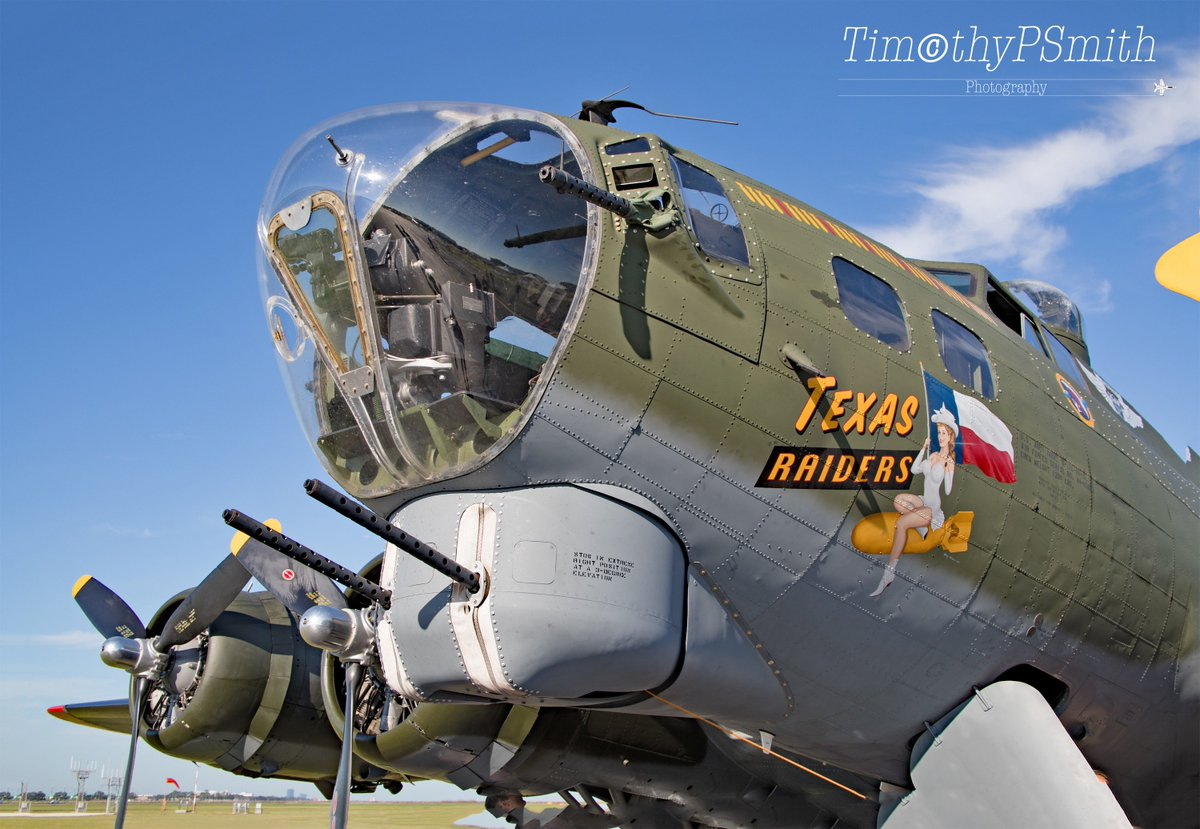 """This Beautiful restored #Boeing B-17 Flying Fortress """"Texas Raiders"""" of the #CommemorativeAirForce on full display at #WW2LandAirSeaFestival  #NewOrleans    #B17Bomber #AVGeek #Warbird #MilitaryAviation #AviationPhotography  Thank a #Veteran #Respect  #FreedomsNotFree 🇺🇸"""
