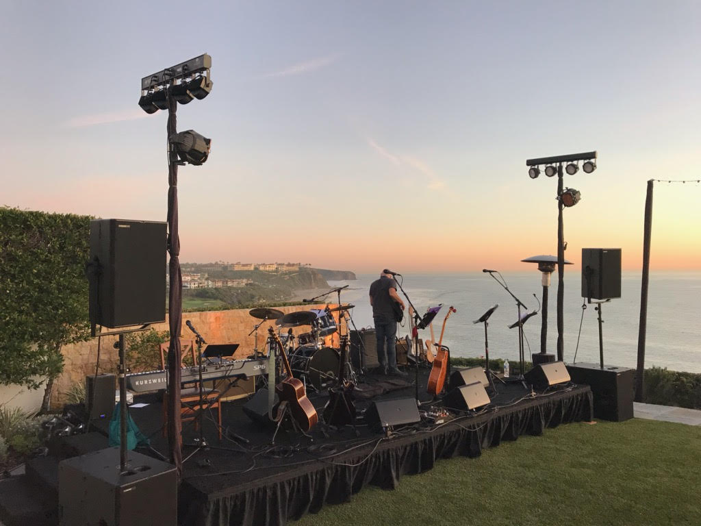 Now that's a scenic stage! Our T24N cabinets and subs were deployed for a private concert in Dana Point, CA, featuring members of the iconic 1970s band Honk and other Laguna Beach artists.