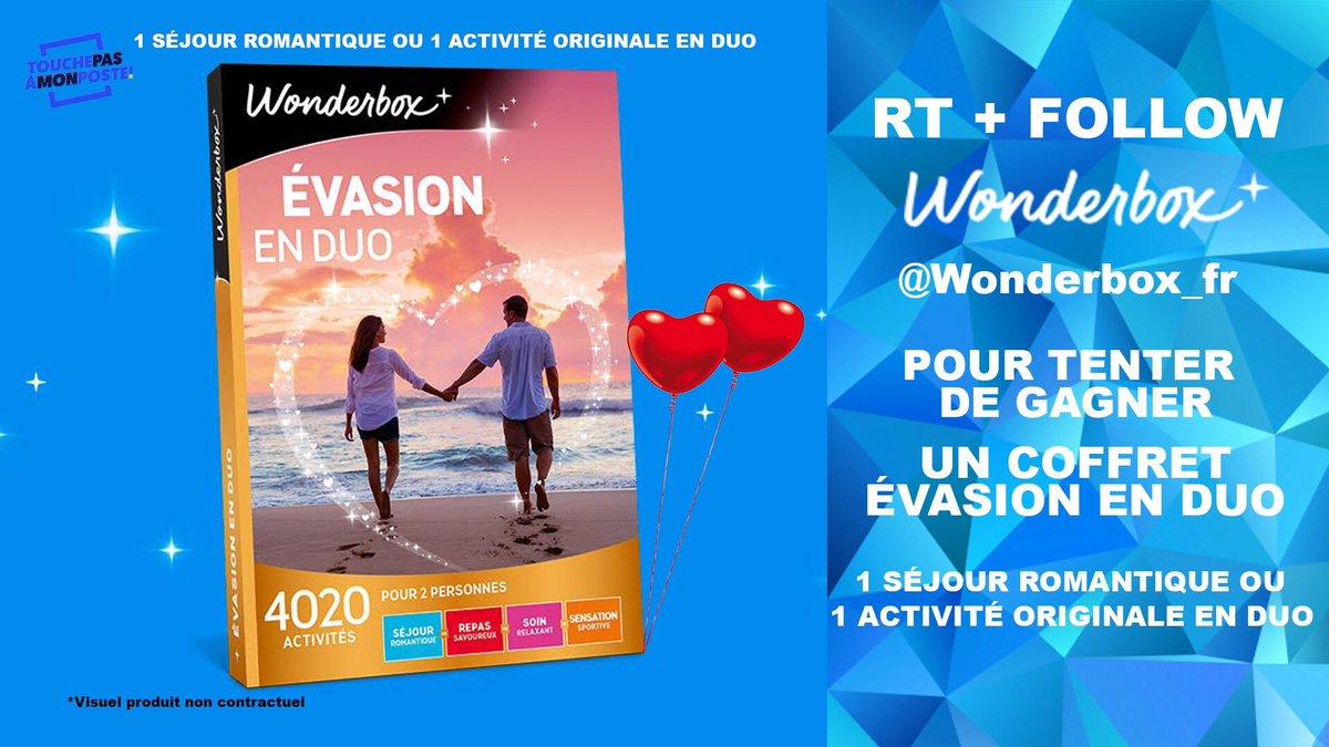 👉 #JeuConcours spécial #SaintValentin ! RT + Follow @Wonderbox_fr pour tenter de gagner: 1 Séjour Romantique ou 1 Activité Originale en Duo. Un beau coffret #EvasionEnDuo ! #Wonderbox n°1 du coffret cadeau en France avec +63000 activités ! https://www.wonderbox.fr/ 🍀TAS ce soir🍀