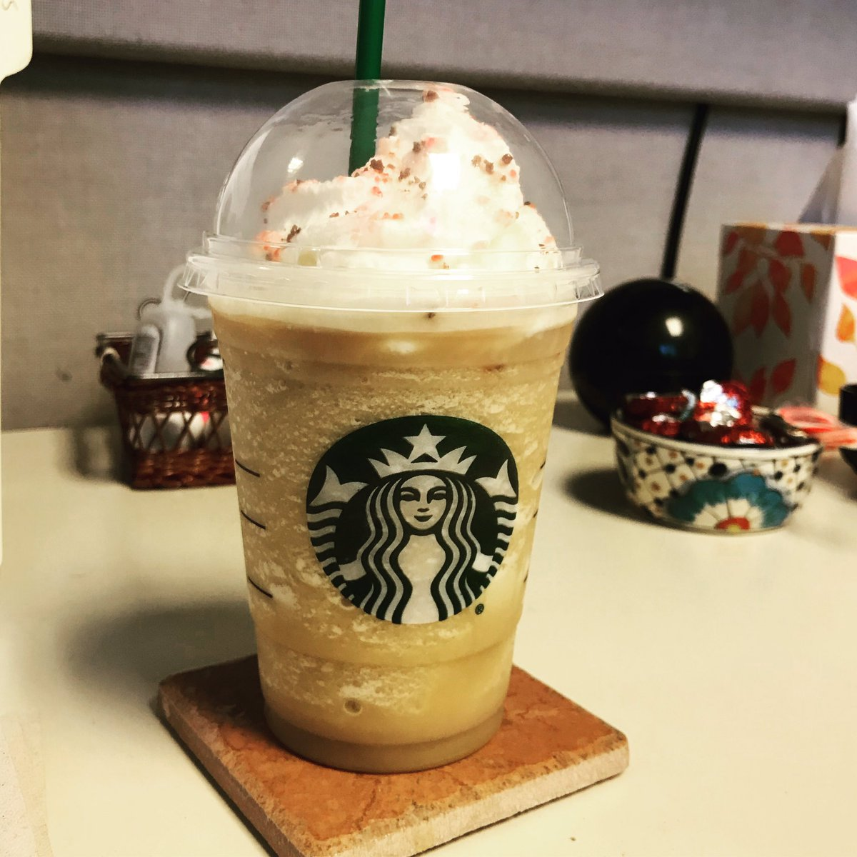 A Frappuccino for now, but later it will be some wine. #happyvalentinesday #cherrymocha #frappuccino #canthavewineatwork<br>http://pic.twitter.com/t6qmeDBrqF