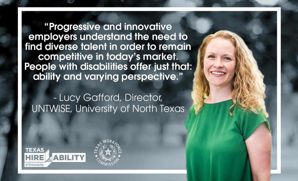 Lucy Gafford explains why @UNTsocial opens their doors to individuals with disabilities & urges you as an employer to open yours. We encourage employers to take advantage of this talent pipeline of dedicated Texans. Explore: http://TXHireAbility.TexasWorkforce.org  #TXHireAbility