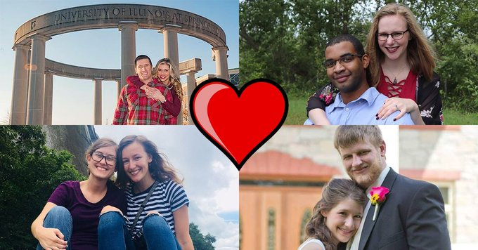 Happy Valentine's Day! These couples all found ❤️ ❤️ ❤️ while attending UIS. Did you meet your match on campus? Share your story and photo with us by using #UISedu and we might retweet it! https://t.co/A2kqj8VIwk