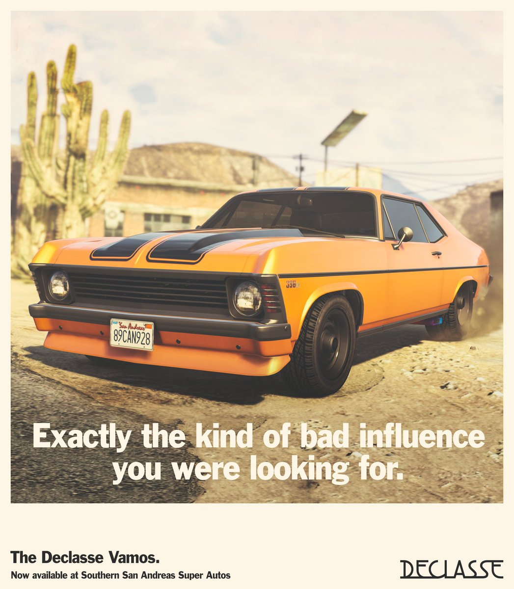 Get the Declasse Vamos Muscle Car, now available at Southern San Andreas Super Autos.     http://rsg.ms/a6691c2