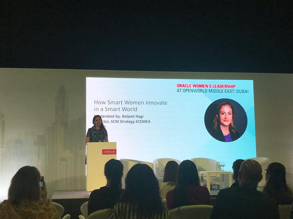 Feb 11 #OOWDXB Oracle&#39;s Baljeet Nagi @bnagi3 moderated a dynamic, stimulating panel of female entrepreneurs &amp; thought leaders from across the Middle East @MirnaSleiman, @Maria01Pearson; @KarineP_Oracle. Kudos to the Oracle Women&#39;s Leadership Community (women and men) in Dubai.<br>http://pic.twitter.com/cGbrbdLlKZ