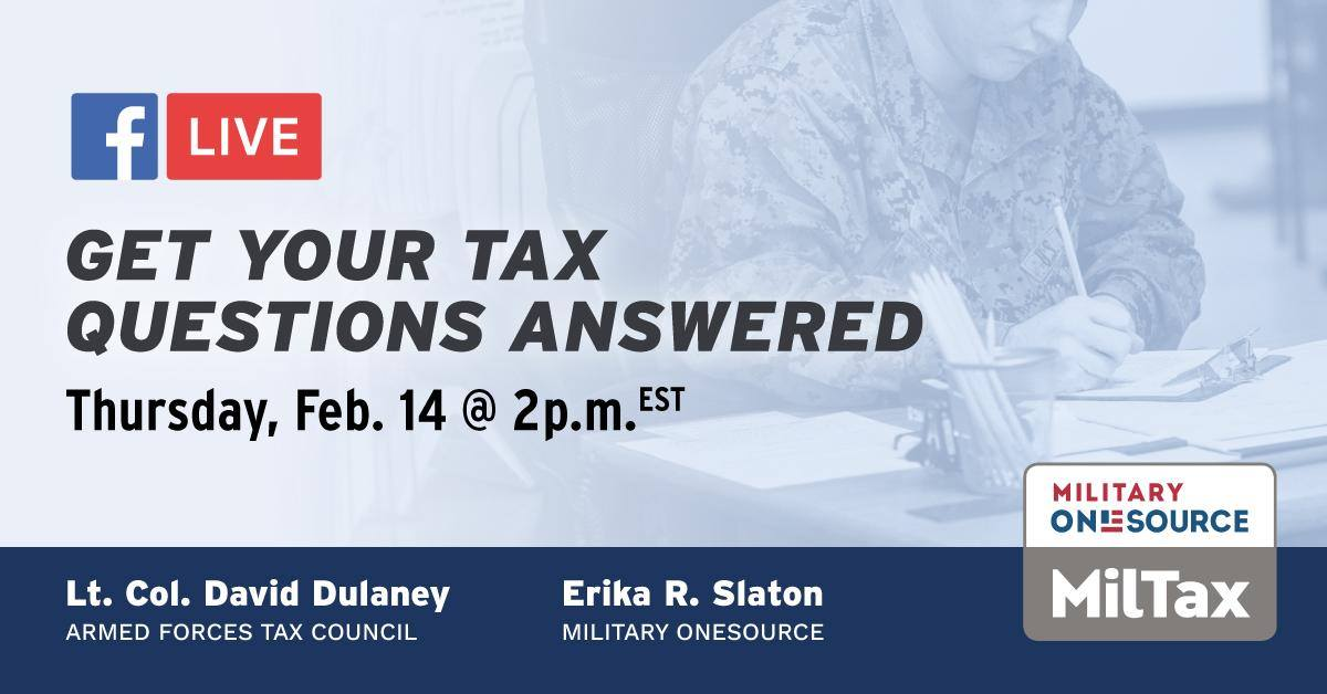 Tax season is here! Need help getting started? Join Military OneSource live today to discuss all you need to know as you begin filing this year. Mark your calendar: https://t.co/qTQYYdpRxb.