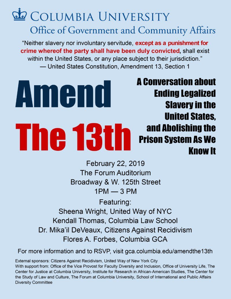 The consequences of an incomplete freedom. Join @columbia for a conversation about the 13th Amendment and #prisonreform.<br>http://pic.twitter.com/M4TDwfhEms