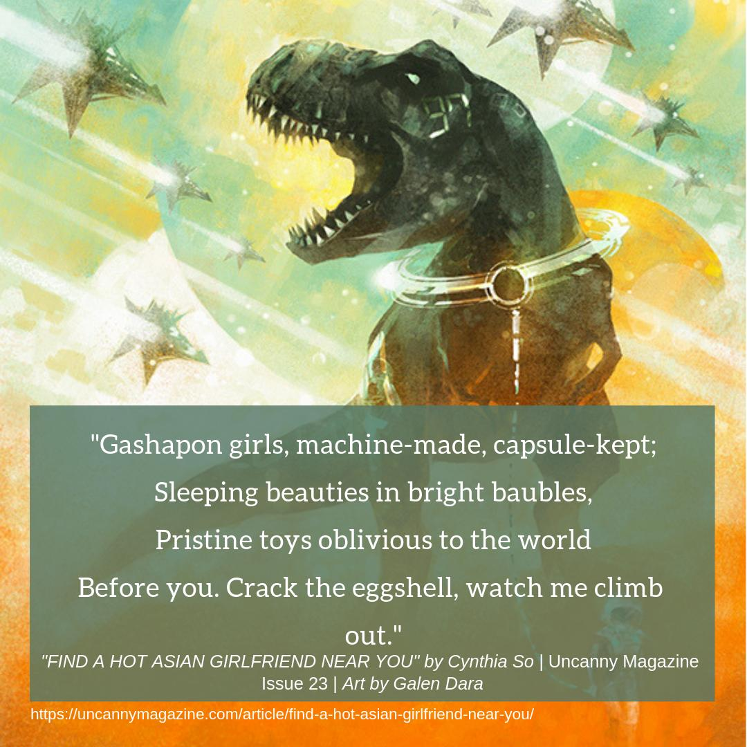 """Reading long poetry for @sfpoetry's Rhysling Awards? Try """"FIND A HOT ASIAN GIRLFRIEND NEAR YOU"""" by Cynthia So! @cynaesthete  https://uncannymagazine.com/article/find-a-hot-asian-girlfriend-near-you/…"""