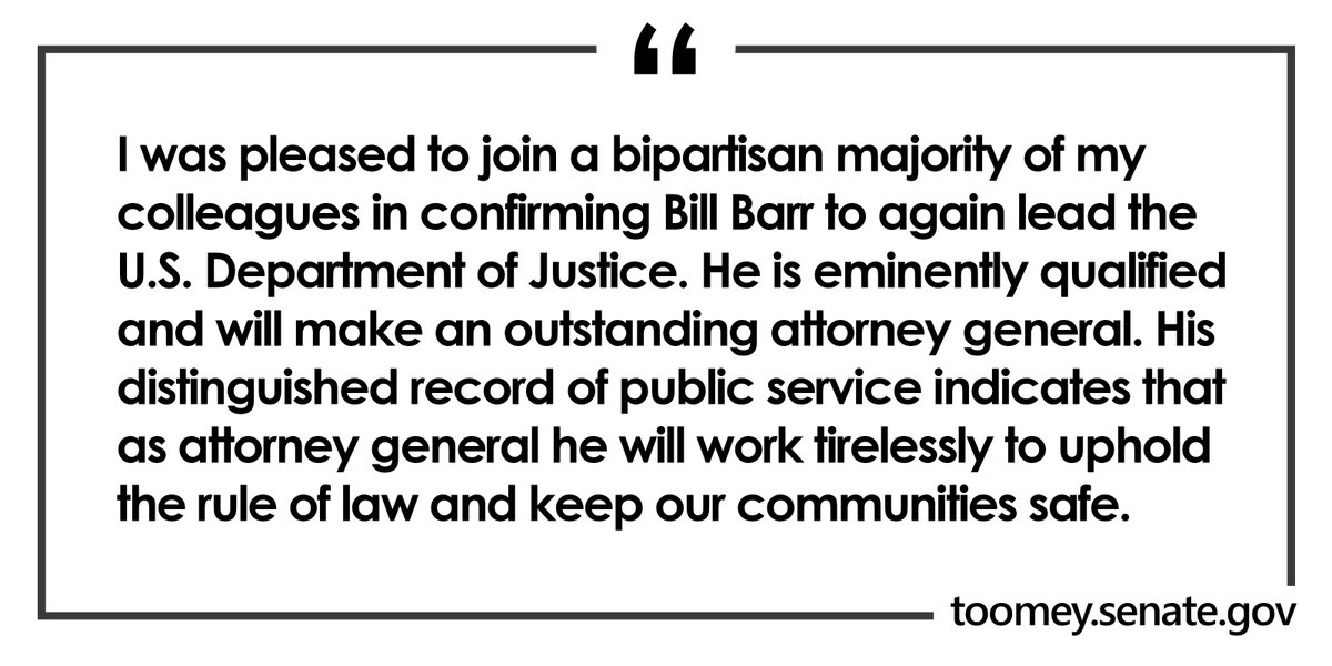 My statement on the confirmation of Bill Barr to be the next United States Attorney General: