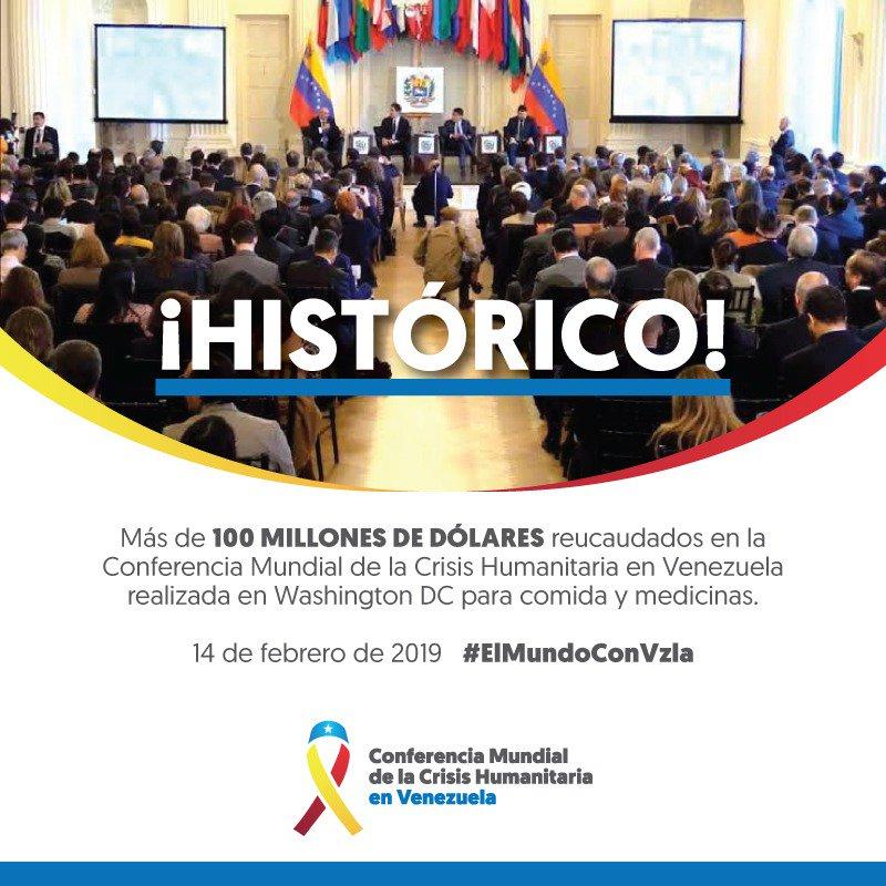 ¡El mundo está con Venezuela!   Anunciamos la conformación de la Coalición Mundial por la Ayuda Humanitaria para nuestro país.  Logramos recaudar  más de 100 millones de dólares en la Conferencia Mundial de la Crisis Humanitaria para traer comida y medicinas.  #OEA