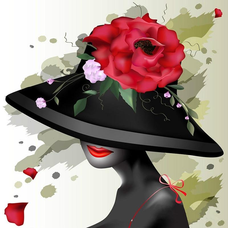 Картинки женщина в шляпе рисунок, сердце