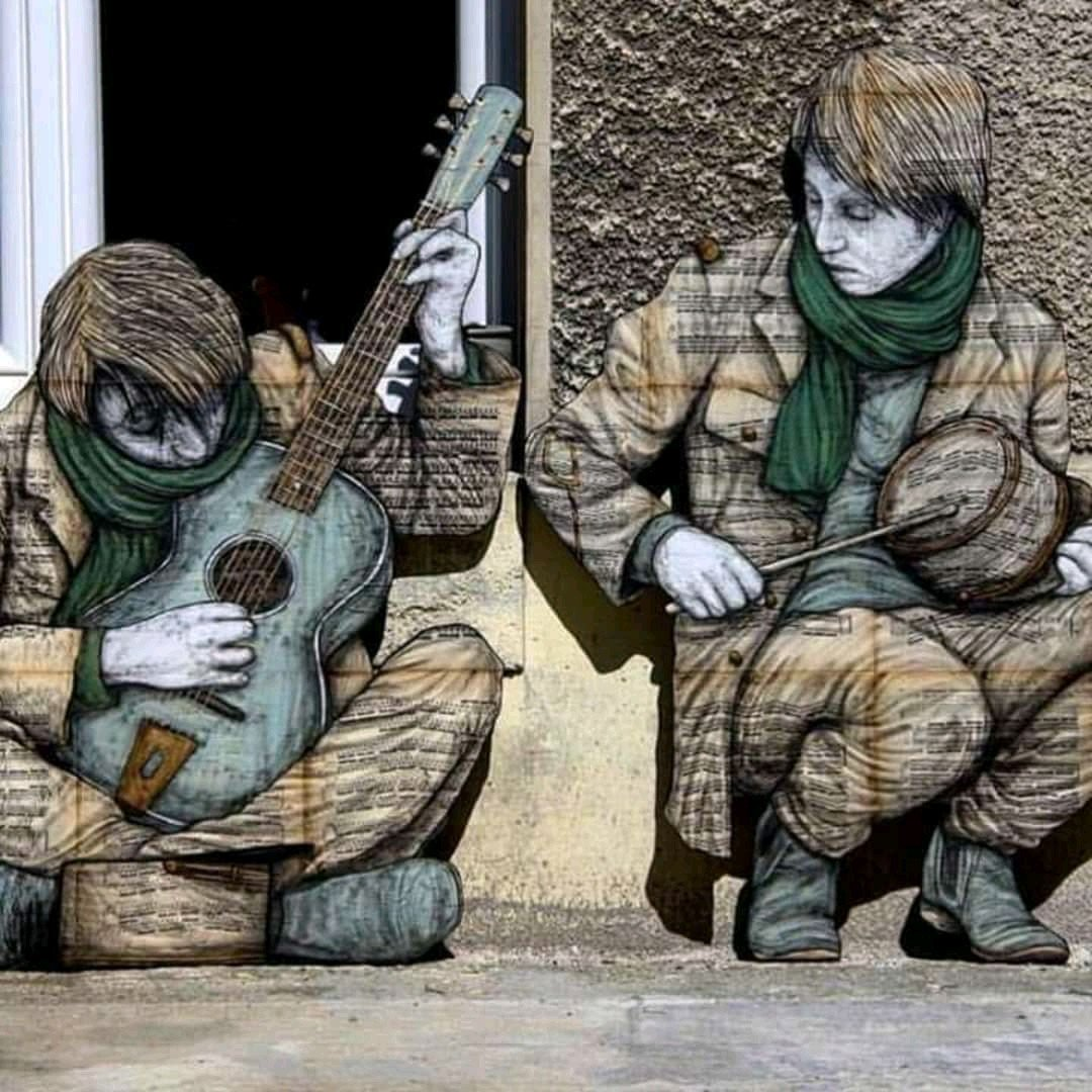 ... music is all around. Art by Levalet #streetart #art #graffiti #murals #urbanart #music #guitar #Paris