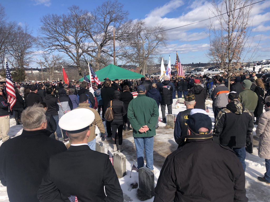 """I was there- The speaker at ceremony- """"Before today James McCue had no family, today we are his family."""" It was so moving seeing everyone there, police, fire, veteran groups, disabled veterans, color guards, student ROTC members, etc... Beautiful send off."""