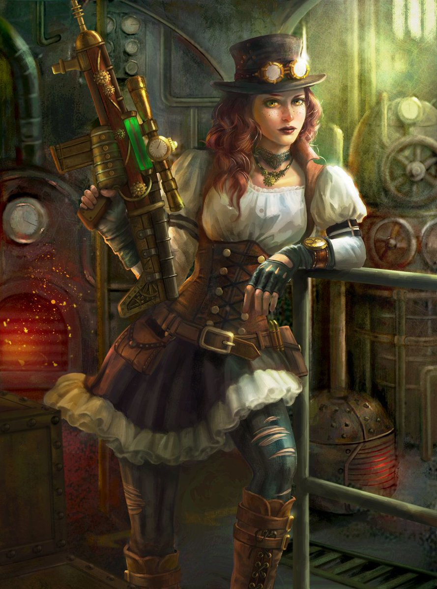 #GirlsWithGuns and #steampunk   Sexy or not?  I love looking through steampunk #art! #amwriting #ideas