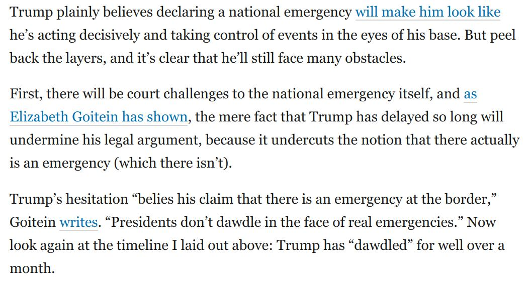 The real story is Trump's impotence. His national emergency is extremely unlikely to produce anything like the results he wants:   https://t.co/RnASgaG8Ek