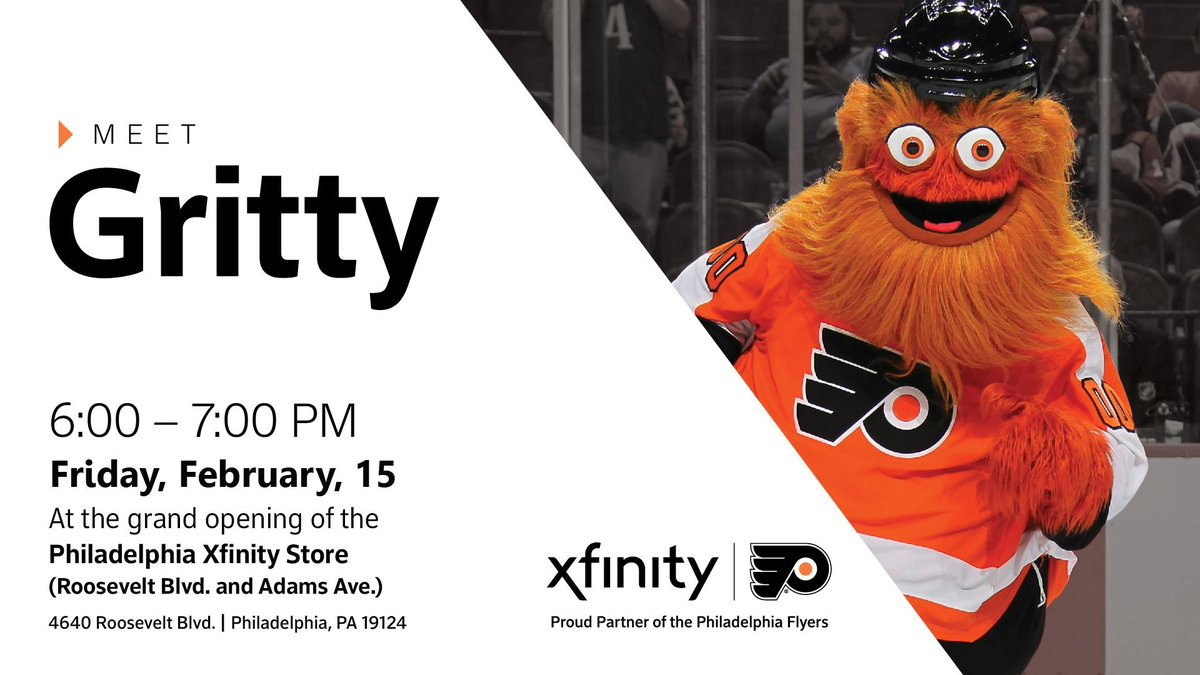 Join @GrittyNHL and celebrate the grand opening of the Philadelphia #Xfinity Store (Roosevelt Blvd. and Adams Ave.) on Friday night!