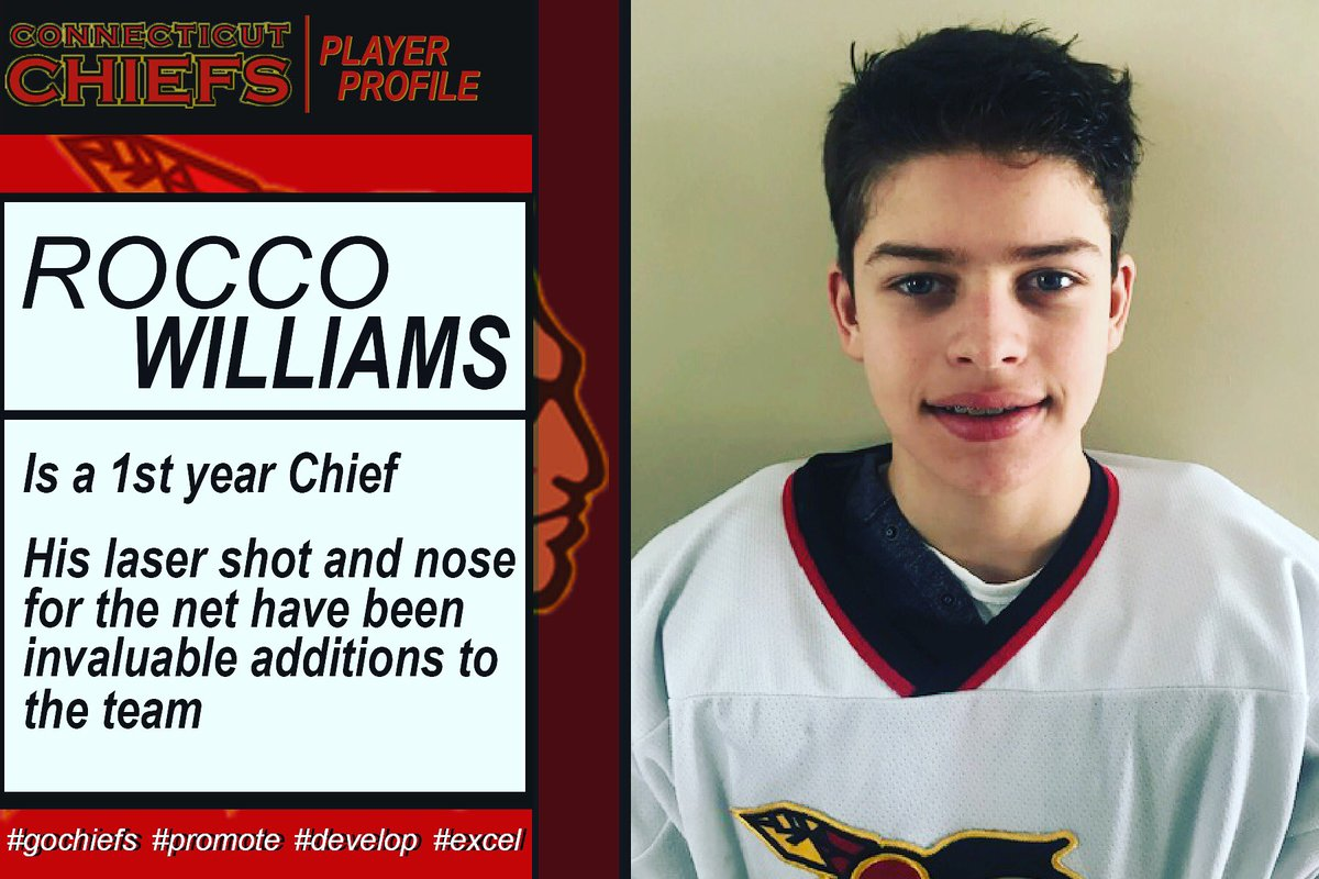 Rocco Williams (Durham) is in his 1st year as a Chief.  His laser shot & nose for the net have been invaluable additions to the team.  Rocco believes being a Chief means giving it all every time you are on the ice...#gochiefs #promote #develop #excel