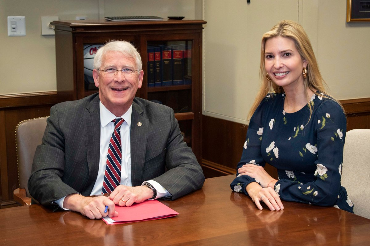 Today Chairman @SenatorWicker met with @IvankaTrump to discuss the administration's priorities to maintain U.S. leadership in AI, the deployment of 5G networks, and other science and technology initiatives of the future. #IndustriesoftheFuture