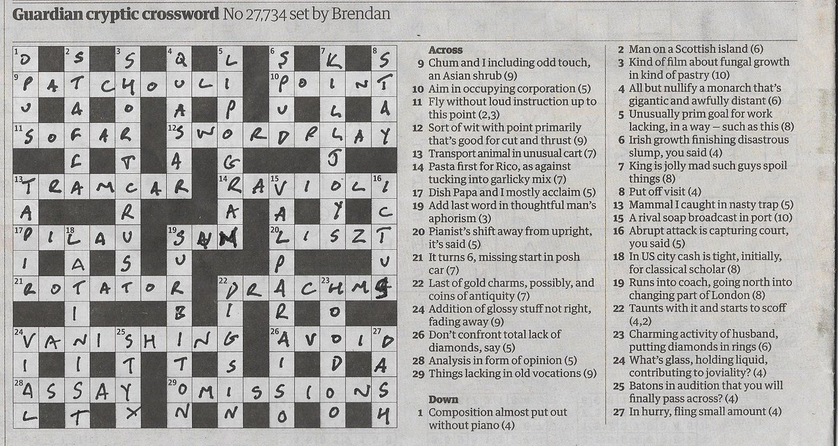 Idwal Fisher On Twitter A Rare Example Of A Lipogram A Crossword That Lacks A Letter In This Case E In Both Clue And Answer Impressive Georgeperec Avoid Astralsocialite Https T Co 37qzkaodfe