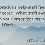 Image for the Tweet beginning: Q6: Celebrations help staff feel