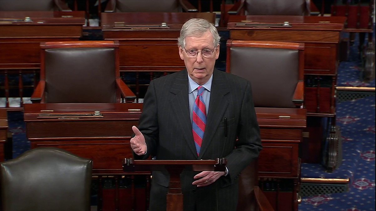 "BREAKING: Senate Majority Leader McConnell says President Trump has told him that he's prepared to sign the government funding bill and that ""he will also be issuing a national emergency declaration at the same time."""