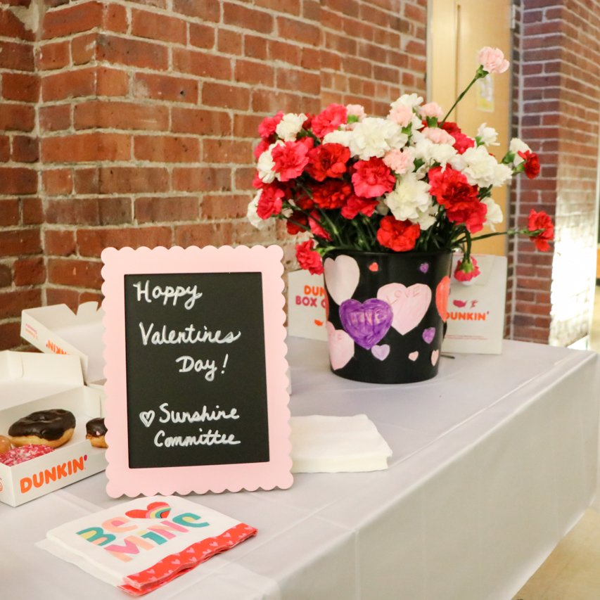 We @BRCPS love our students (of course!), and we also love our teachers! Flowers, coffee & doughnuts from our Sunshine Committee greeted our teachers this morning as they walked in. Happy Valentine's Day! #ValentinesDay #TeacherLove