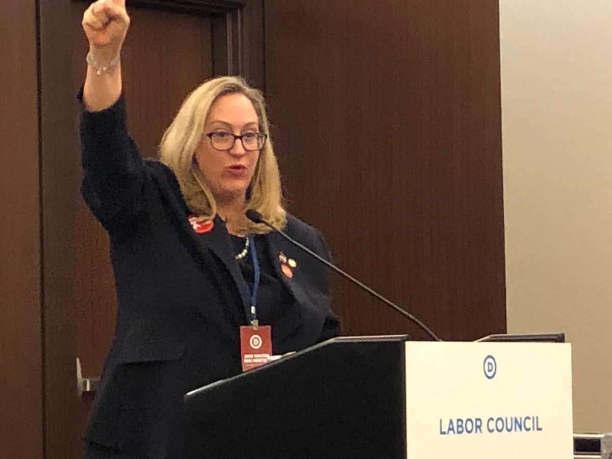 """#RedforEd started last spring after decades of legislative neglect and chronic underfunding of public education.   ""This is not a moment, rather a movement OF and BY educators fighting for public schools for America's students.""   - @NEADeputyExec to @TheDemocrats Labor Caucus."
