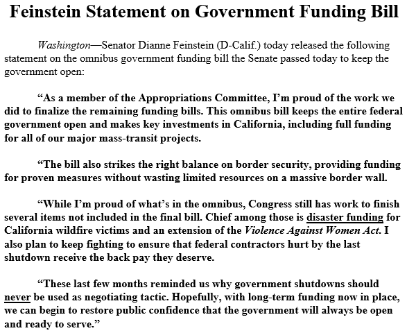 While I'm proud of what's in the omnibus, Congress still has work to finish several items not included in the final bill. Chief among those is disaster funding for California wildfire victims and an extension of the Violence Against Women Act.