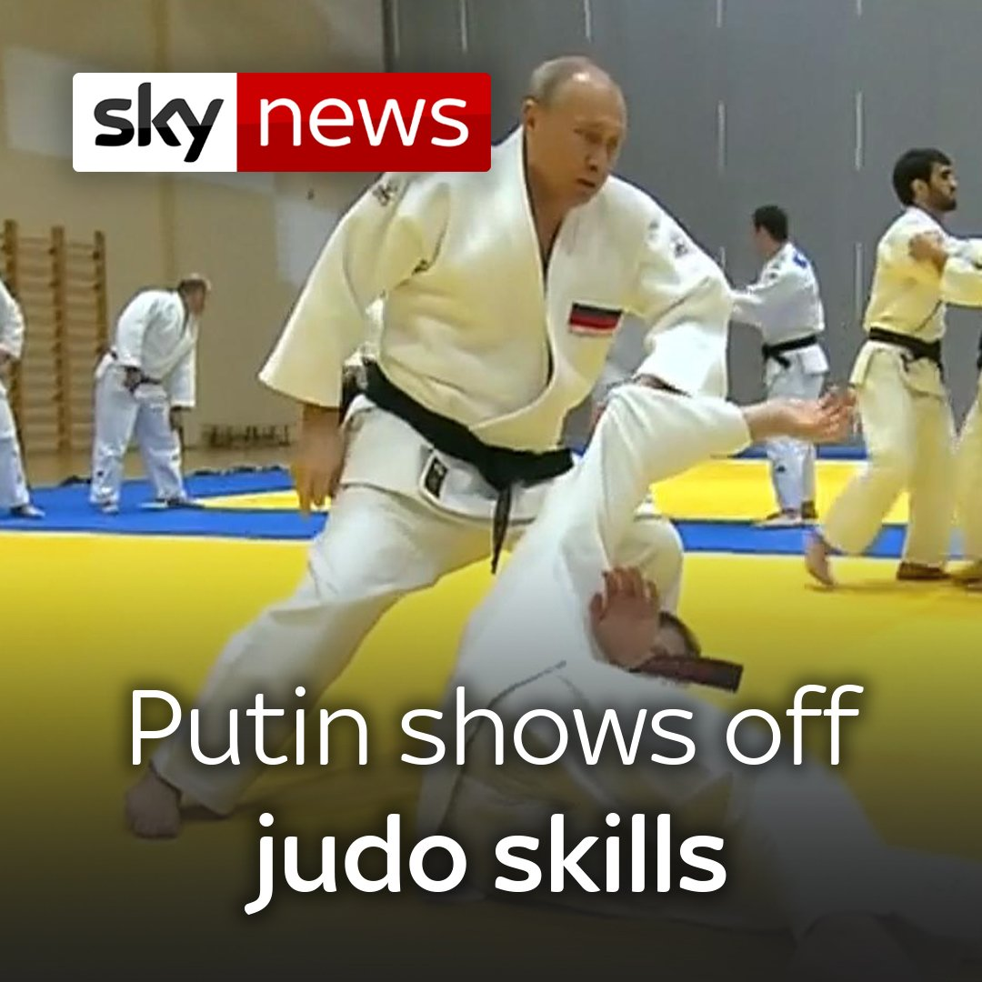 Russian President Vladimir Putin - himself a black belt - took part in the national judo team's training session.   Watch more videos like this here: https://news.sky.com/videos
