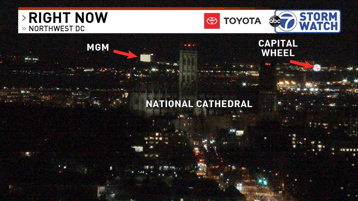 I love the perspective from our Tenleytown cam in D.C. showing the Washington National Cathedral with Reagan hiding to the right, then MGM and the Capital Wheel in National Harbor in the background which is about 10 miles away! <br>http://pic.twitter.com/Q3xDrSRsTV