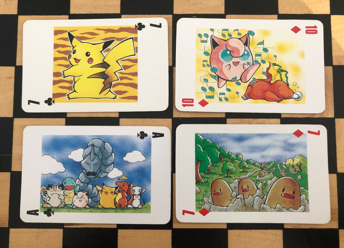 found this set of pokémon playing cards at my parent's house, these illustrations are so lovely