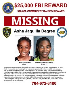 Shelby, North Carolina's Sweetheart has been missing 19 years today.   The #FBI & the Cleveland Co. SO still need your help to find Asha Degree.  She was 9 yrs old when she left her home in the middle of the night & vanished.
