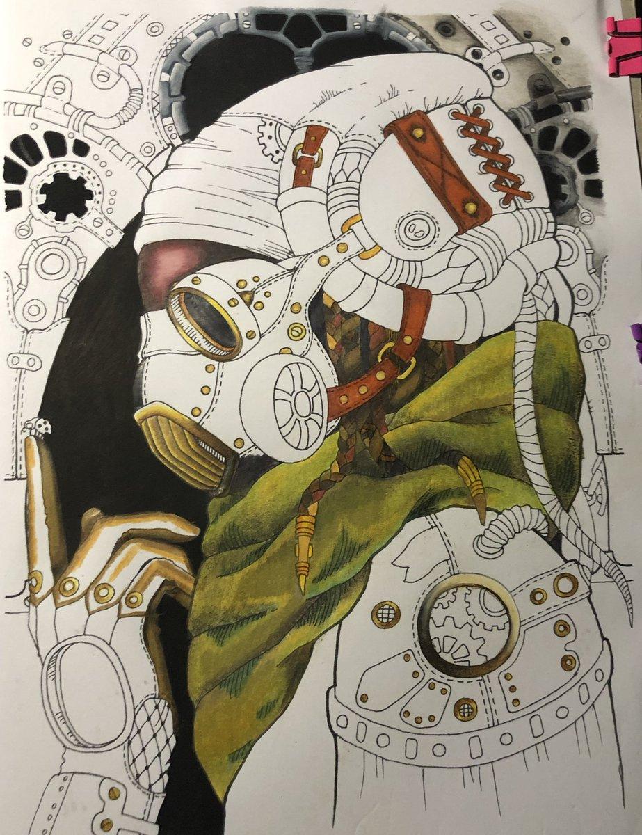 Steampunk Colouring #steampunk #tanyabogema #polychromos #prismacolor #colouredpencils #metal #wip #tutorial #cog #gear #steampunkart #tanyabogemastolova
