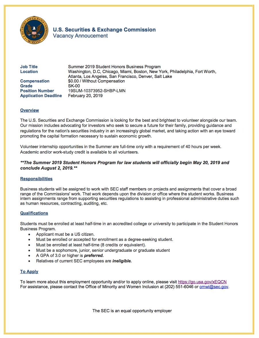 SEC Office of Minority and Women Inclusion has internship opportunities. The SEC has meaningful business #internships for both #undergraduate and #graduate students.  #UCRiverside