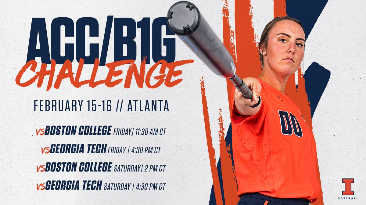 Champaign  Atlanta  ACC/@B1Gsoftball Challenge!   Schedule change due to forecasted weather on Sunday     http:// bit.ly/ILLSBatACCB1GC hallenge-Preview &nbsp; … <br>http://pic.twitter.com/16PHVJTiwl