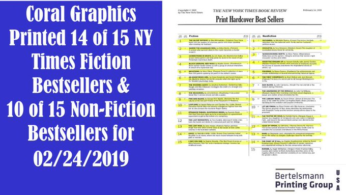 b0898945868 RT  BPGUSA  Coral Graphics prints the NY Times Bestseller list.  https   t.co TY1U2bSyI8