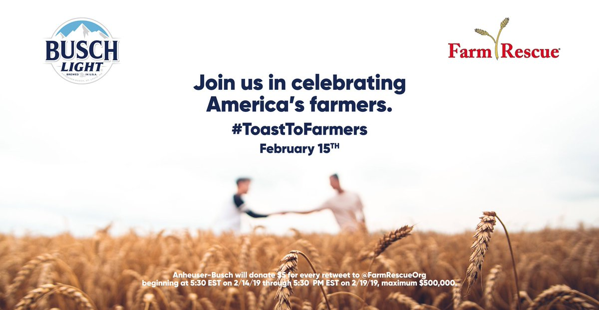 To celebrate America's farmers we will donate $5 for every retweet to a great organization, @FarmRescueOrg. Join us in supporting all the hardworking men & women who grow America's crops 🍻 #ToastToFarmers Learn more at http://ToastToFarmers.com & http://FarmRescue.Org