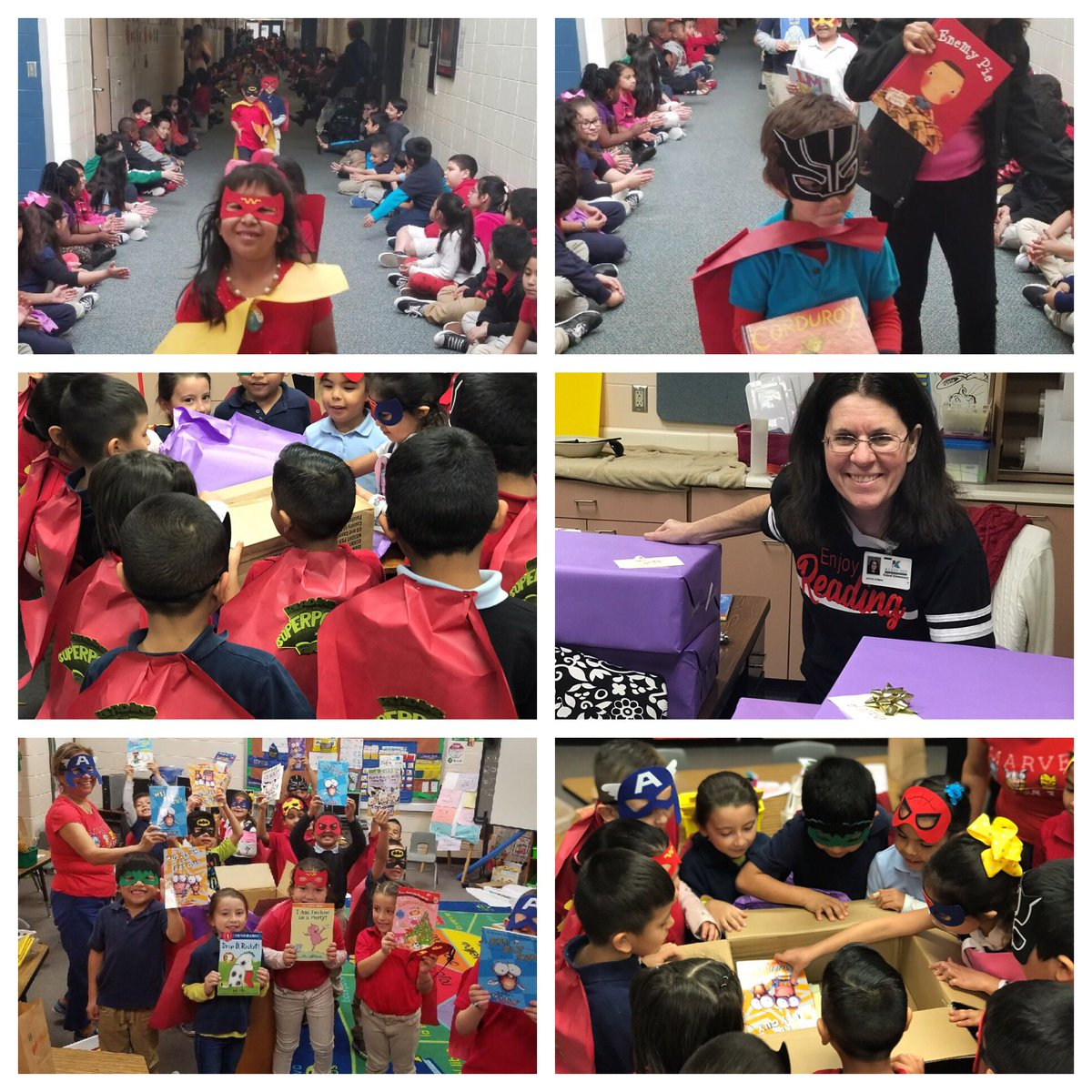 """2019 Valentine's Day at @EilandKISD: -Kindergarten parade to celebrate their new """"superpower""""(reading)📚✅ -Wrap special gift boxes🎁 ✅ -Deliver surprise to all Kinder rooms✅ -EVERY Kinder student gets a new book✅ @bookafterbook @DozierLynne #EilandFanTheFlame #MomentsInKlein"""