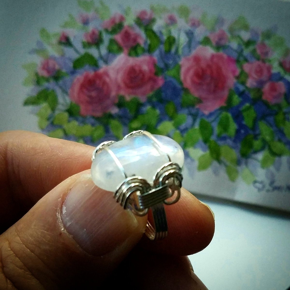 FREE SHIPPING White With Blue Flash Moonstone Ring Wire Wrapped Jewelry Handmade in SIlver  https:// etsy.me/2FrtrJt  &nbsp;   #etsy #jewelry #handmade #fashion #handmadejewelry #etsymntt #bohemian #etsygifts<br>http://pic.twitter.com/7ktZj6CezY
