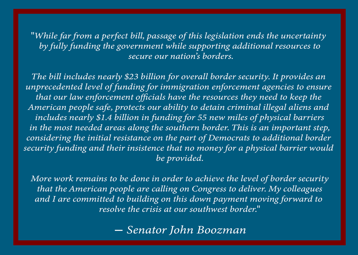 A short time ago, I voted to avoid another government shutdown and provide additional resources to secure our borders. It is far from perfect, but it keeps the government open and is a positive step on border security. My full statement:  https://www.boozman.senate.gov/public/index.cfm/press-releases?id=DC5A2AF6-224D-401A-9D56-5910F8439F16…