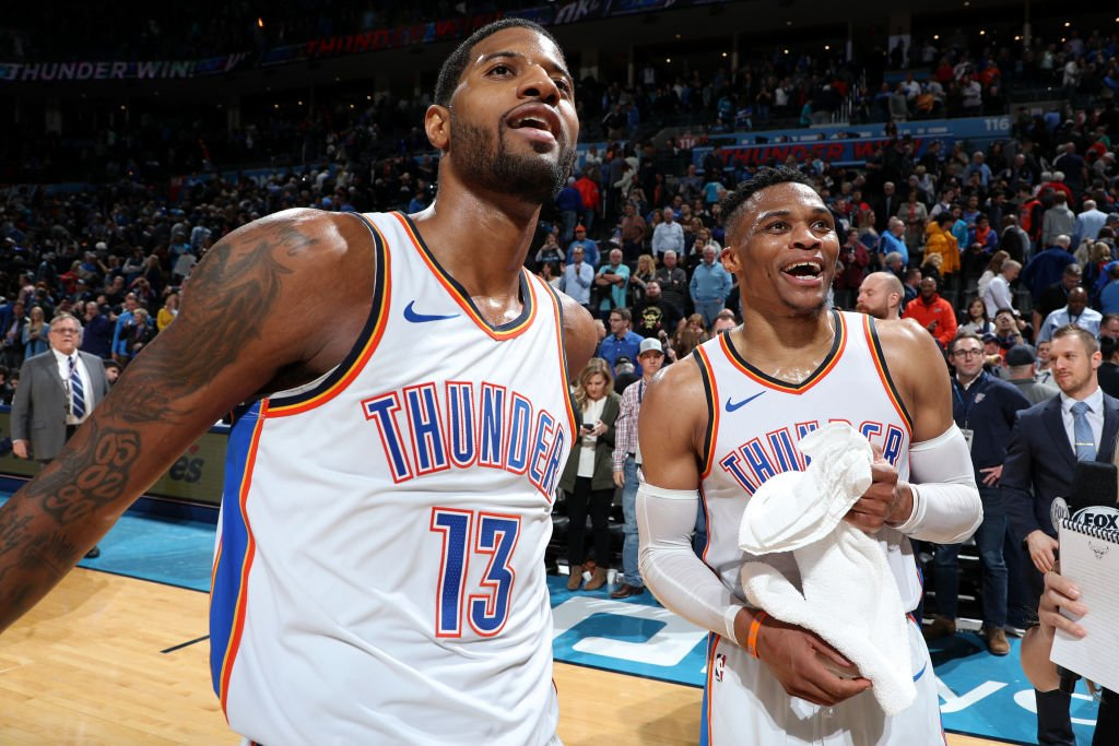 """""""He has become one of the most effective offensive players in the league.. and let OKC fully enjoy the benefits of a two-star system.""""  @NylonCalculus dives into Paul George's offensive ascendance: https://stats.nba.com/articles/paul-georges-increased-offense-has-okc-thriving/…  🏀: #ThunderUp x #DoItBig  ⏰: 8:00pm/et 📺: @NBAonTNT"""