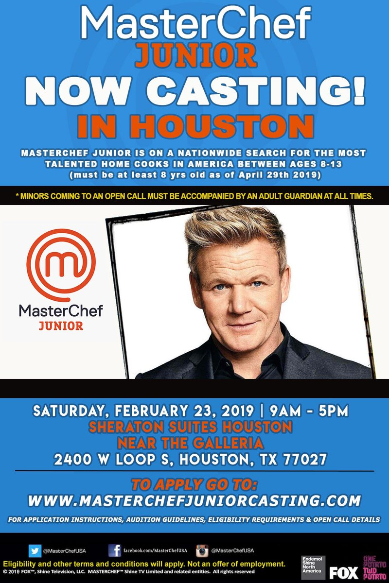 #Houston ! @MasterChefJrFOX is casting this weekend! Visit https://t.co/OtA6TPJ8aA for more details !!