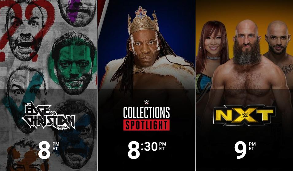 Streaming TONIGHT on @WWENetwork: 8/7c - #TheECShow 8:30/7:30c - #WWENetwork Collections Spotlight 9/8c - @WWENXT