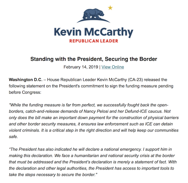 We face a humanitarian and national security crisis at the border that must be addressed. This funding bill is a critical step in the right direction, and I support the President in declaring a national emergency. My full statement:
