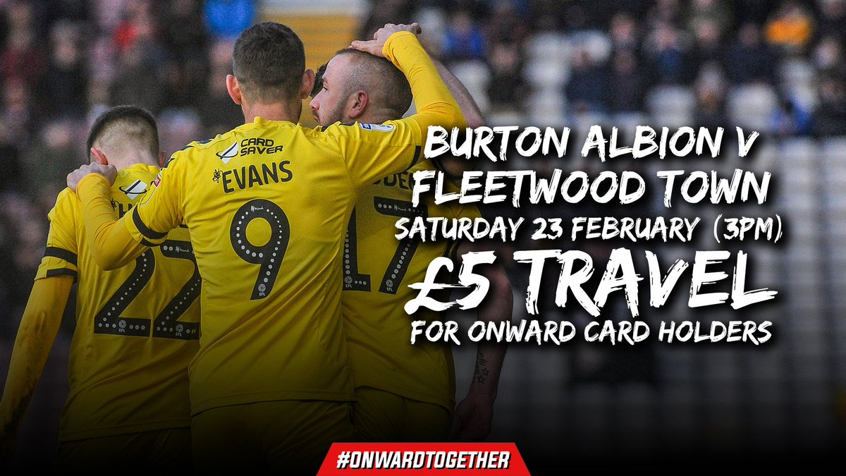 1️⃣ day to go until we return to action against @burtonalbionfc 🙌   Onward Card holders can travel to the Pirelli Stadium for just a fiver!  Book now 👉 https://t.co/nTshQmis3z   #OnwardTogether