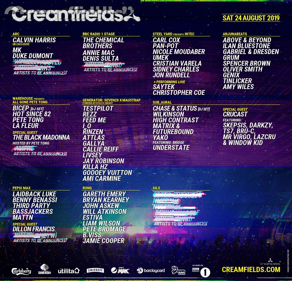 Creamfields 2019 schedule