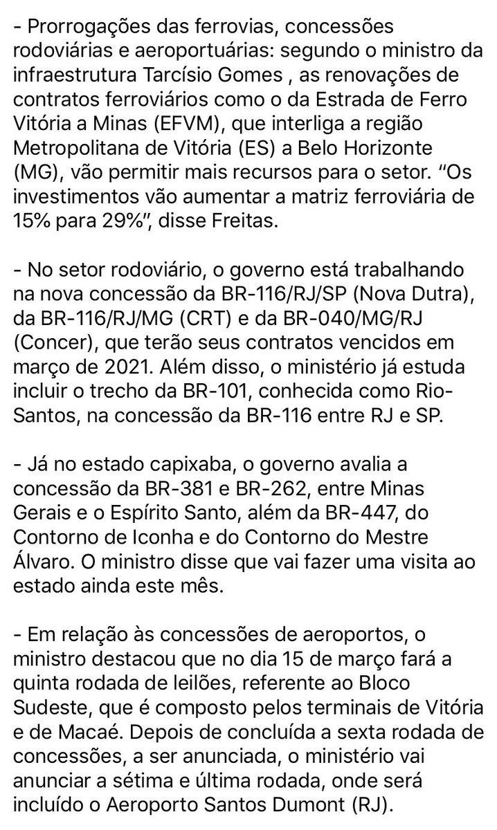 Mais Prorrogações das ferrovias, concessões rodoviárias e aeroportuárias em Minas Gerais, Espírito Santo, São Paulo e Rio de Janeiro, interligando o Brasil para escoamento de produção e qualidade de serviço brasileiros: